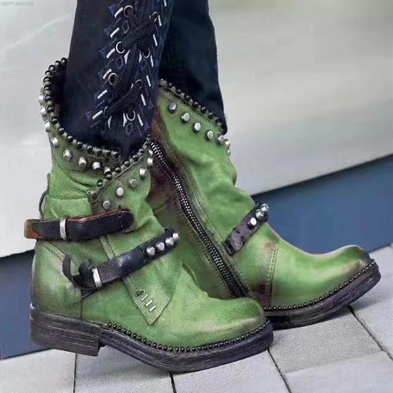 DIHOPE 2020 Mujeres Botas Otoño Invierno Mujer media pantorrilla del cuero de la PU del dedo del pie redondo mujeres zapatos de tacón bajo las botas de remache fresco de la motocicleta