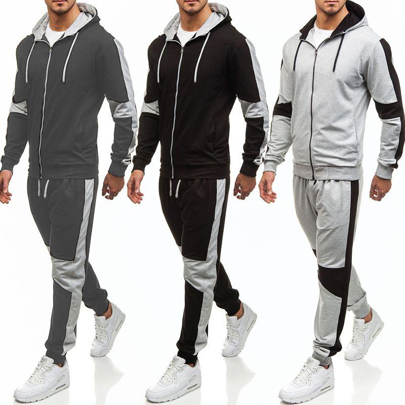 Abbigliamento sportivo da uomo moda 2020 Nuova felpa con cappuccio massiccio Pantaloni casual Colour Color Color 2 pezzi Set Mens Jogger fitness uomo set
