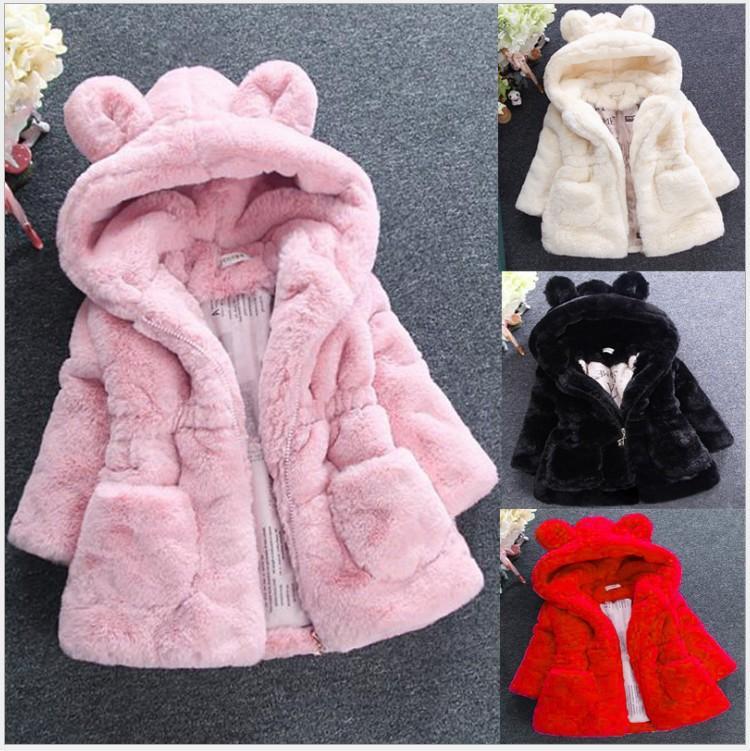 2021 Новая осень зима Девушки из искусственного меха Пальто Дети сгущает Теплый капюшоном уха куртки Дети Outwear Baby Girl пальто