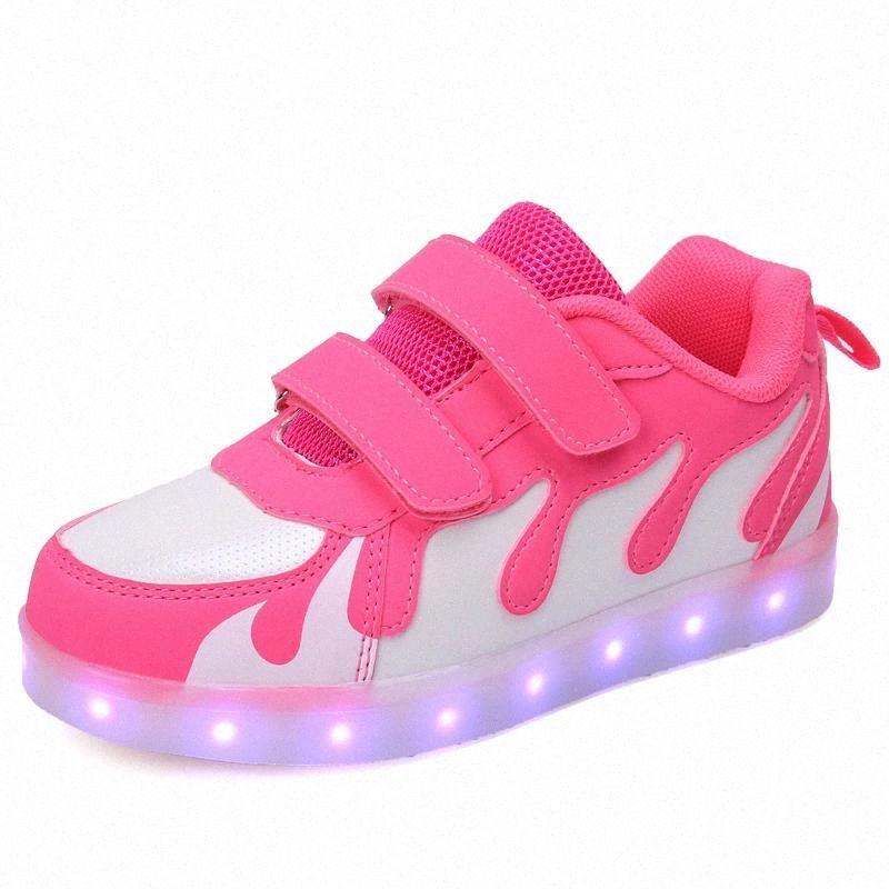 Kids LED Light Up Tennis Chaussures pour garçon fille Enfants rougeoyant USB Charging Rose Casual Sneakers Enfants Garçons Filles Chaussures de mode # QP5Y
