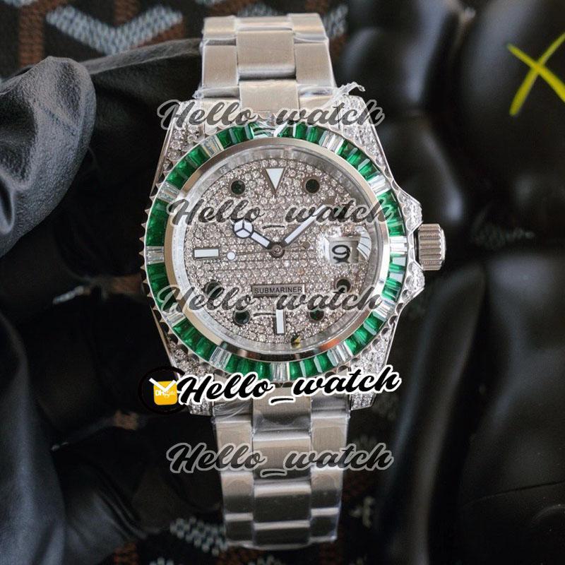 Nouvelle lunette d'émeraude diamant lunette 116610 126610 16610 Gypsophila Cadran Automatique Mens Hommes Montres en acier inoxydable Montres RXHW Hello_Watch 4 Couleur