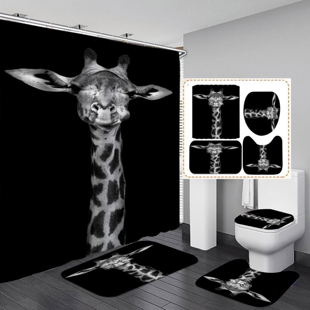 Noir et blanc animaux Imprimer Rideau de douche 4 pièces Tapis couverture toilettes Couverture Tapis de bain Tapis de bain rideau avec Set 12 crochets X1018
