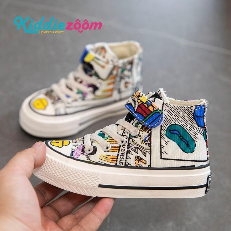 Çocuk Tuval Ayakkabıları Doodle Desen Güz Çocuklar Çocuk Rahat Sneakers Bebek Kız Sevimli Yüksek Topuk Ayakkabı Nefes 201114