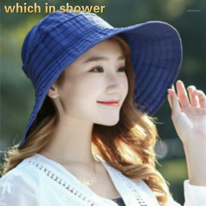 Который в душе сплошной летний солнца шляпа для женщин Широкий Breim летняя дама шляпа большая досная дискета Панама пляжная шапка Cap Caphau Femme1