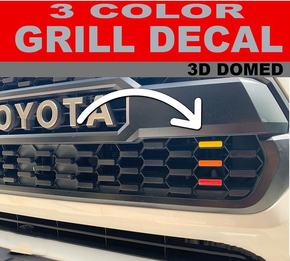 Для 2016-2020 Toyota Tacoma TRD про гриль Наклейки 3 Цвет Красный Оранжевый Желтый 3D куполообразной