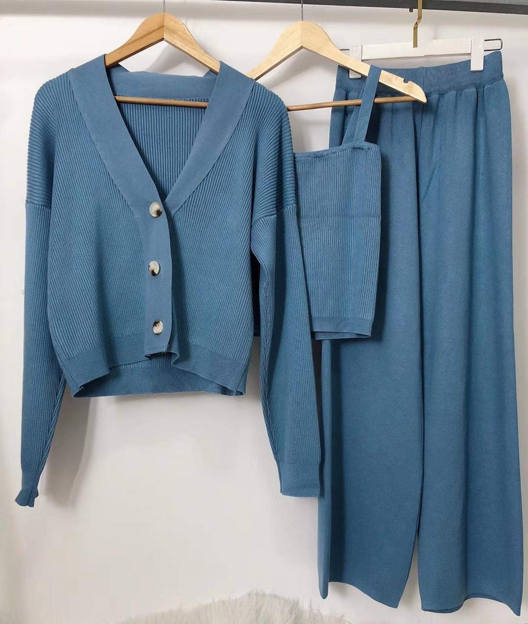 2020 outono nova moda das mulheres v-pescoço camisola de malha cardigan e calças compridas colete e cintura alta europeus atender 3 pcs definir S M L