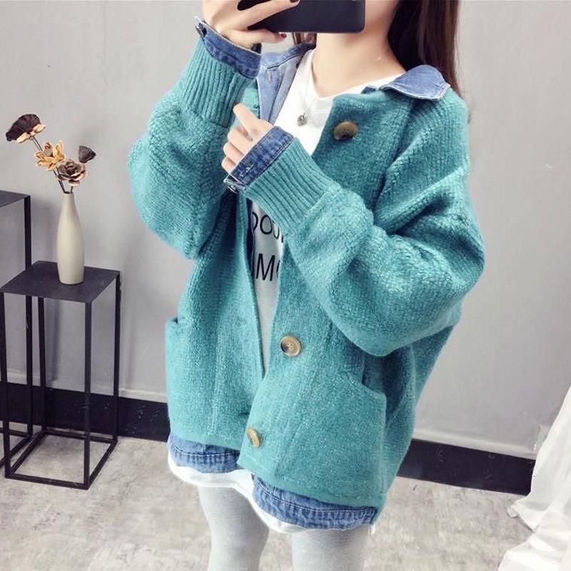 2021 neue frauen herbst frühling pullover drehen kragen koreanische stil lose weibliche strickjacken einzigartige zufällige shaphazard breasted mesh outwear 8oeu