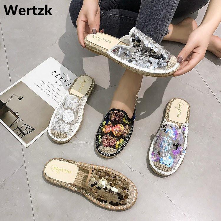 Wertzk 2019 verão nova sequin pescador sapatos senhora arrastão preguiçoso fresco vermelho com um pé para vestir meia chinelos fora E356 X1020