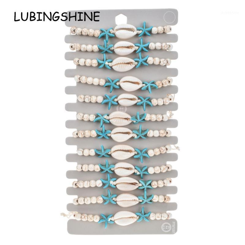 12 adet / takım Doğal Taş Kabuk Denizyıldızı Charms Bilezik Bilezikler Kadın Örgülü Ayarlanabilir Zincir Halhal Bileklik Jewelry1