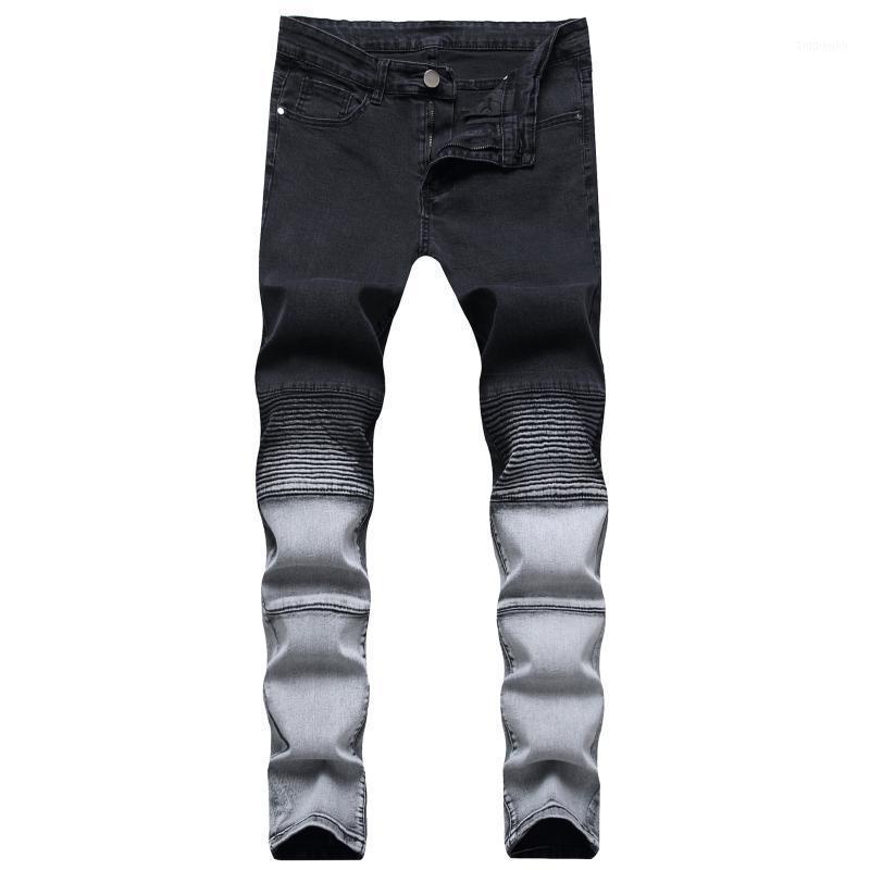 2020 Denim da uomo Nuovo Pantaloni moto pieghettati Pantaloni da moto Gioventù Elastico Slim By-Color Casual Jeans Fashion1