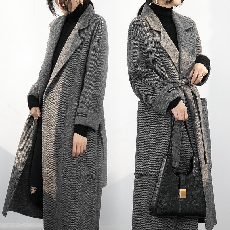 stile antico cappotto di lana medio e lungo 20201012 delle donne cappotto nero in autunno e inverno