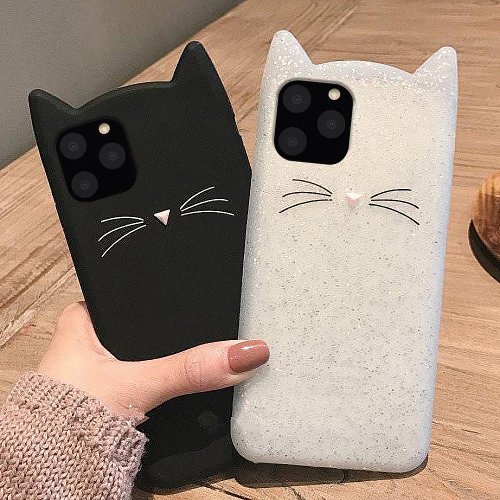 3D Cartoon Cute Cat Ears Silicone Case for IPhone 11 Pro MAX X XS XR Shockproof Cover for IPhone 6 6S 7 8 Plus SE 2020