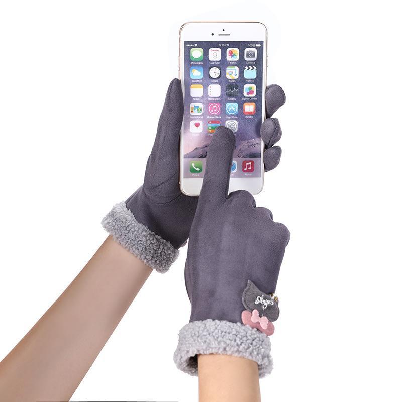 Fünf Finger Handschuhe Winter Weibliche Plüsch Handgelenk Warme Kaschmir Sport Radfahren Handschuhe Frauen Bären Strass Wildleder Touchscreen Treiben G