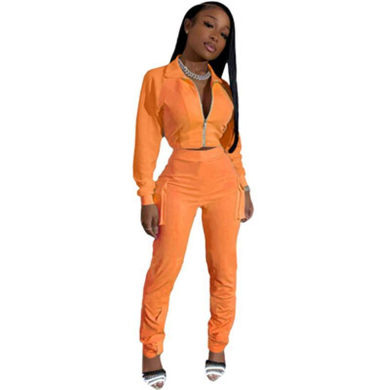 Womens Solid Color Sets Fashion Trend Long Sleeve Zipper Coat Elastic Waist Pants Suits Designer Female Spring New Casual Two Piece Sets