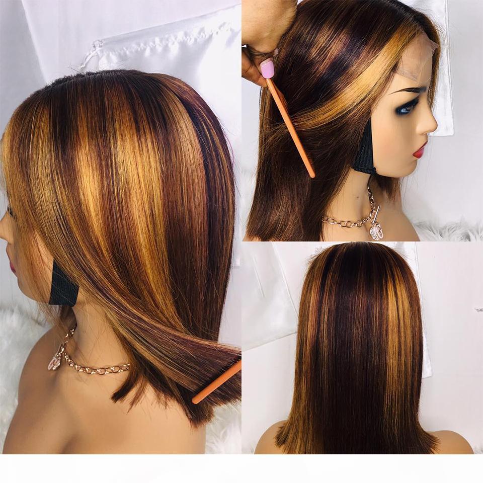 1b 27 Highlight WIG OMBRE короткий боб парик 150% кружевной замыкающий парик человеческих волос для женщин 4x4 на сорванные реми. Бразильские кружевные парики