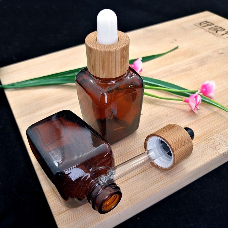 30ml 앰버 스퀘어 드롭퍼 유리 병 에코 친화적 인 대나무 화이트 블랙 캡 화장품 에센셜 오일 아로마 테라피 컨테이너 포장