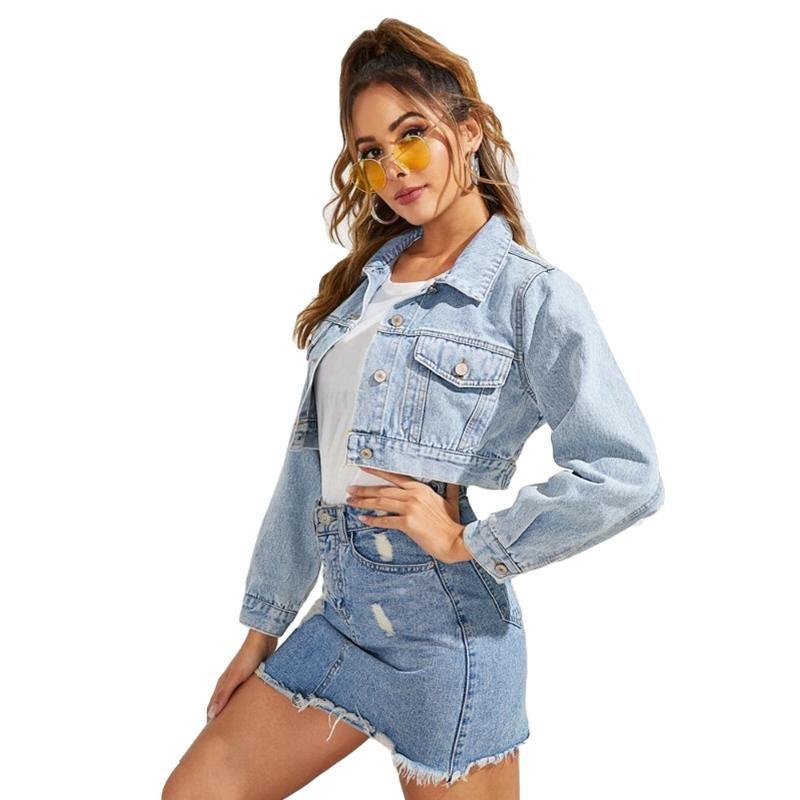 Azul recortado denim chaqueta corta mujer casual solo botones botones jeans chaquetas ropa abrigo Outwear top primavera otoño nuevo