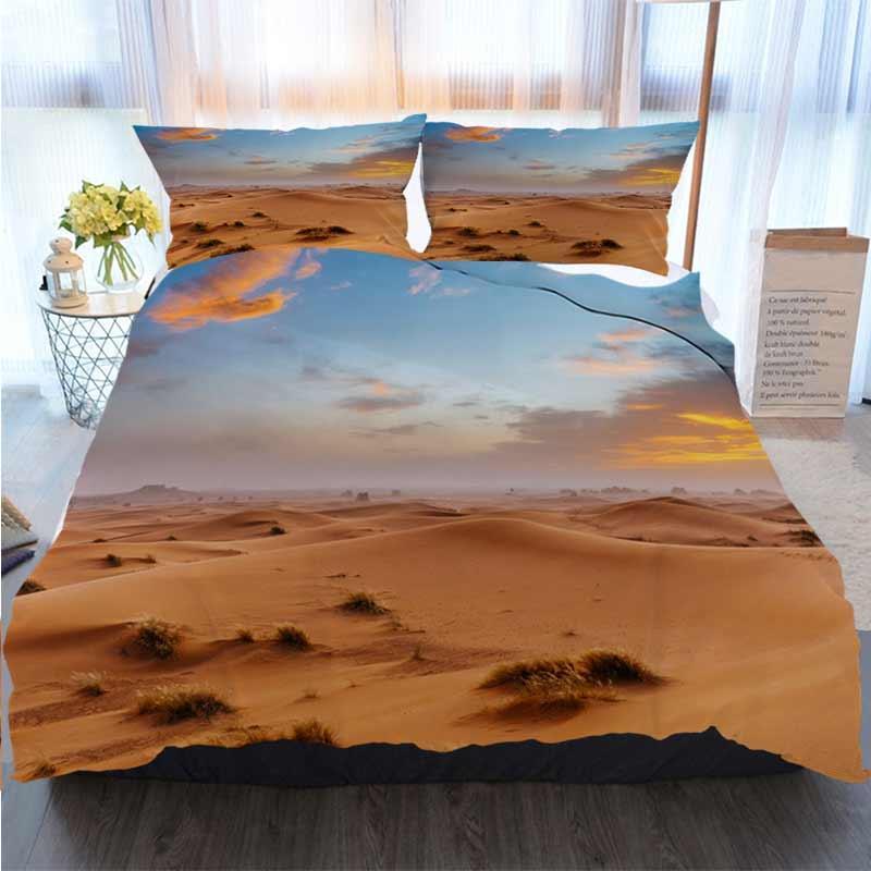 Natale di ringraziamento di Halloween 3 pezzi Copripiumino Set enorme di sabbia Arancione dune e il copripiumino Designer Bed trapunte Set