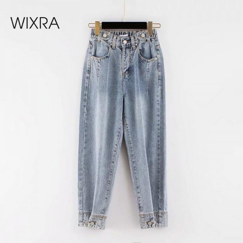 Wixra conjuntos de jeans pantalones femeninos elásticos de la cintura alta jeans rectos BF Casual Botón Denim Pantalones para mujer Streetwear verano otoño 210203