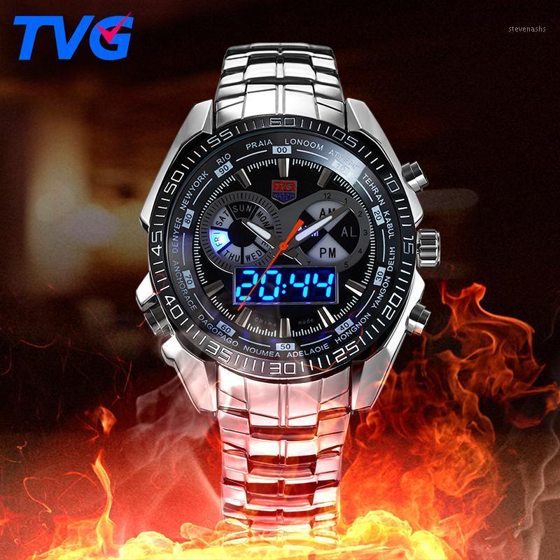 Tvg männliche sportuhr männer voll aus edelstahl wasserdichte quarz-watch digital led analog dual display männer armbanduhren1