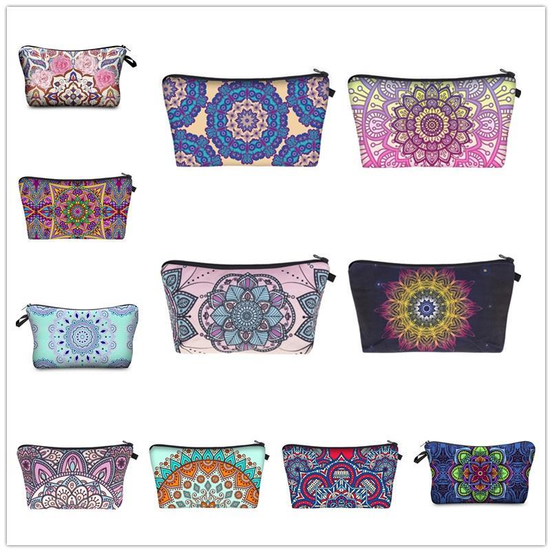 19 diseños maquillaje bolsa delicada Mandala diseños Cosméticos Bolsas Funcional Bolsa de lavado Moda 3d Impresión Maquillaje Magnama Funda Lápiz