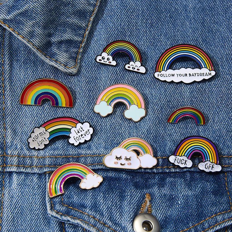 Rainbow Clouds Smalto pin Bianco Spille Borse per ragazzi vestiti Lapel Pin Badge Meteo Spilla per gli accessori dei monili delle ragazze dei capretti di moda