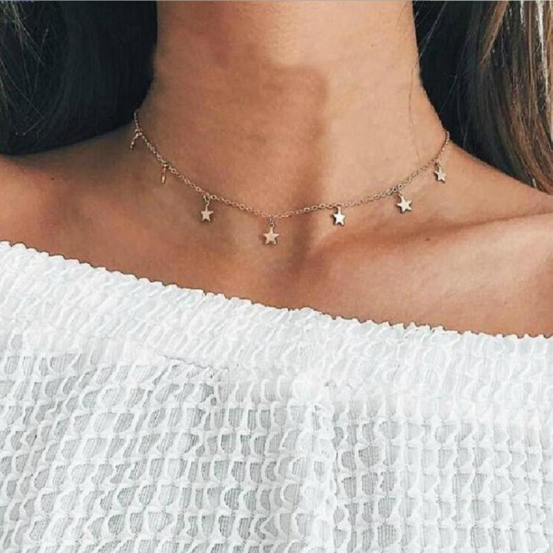 acero inoxidable collar sencillo estilo de la estrella con estilo para la joyería collar de las mujeres del color oro