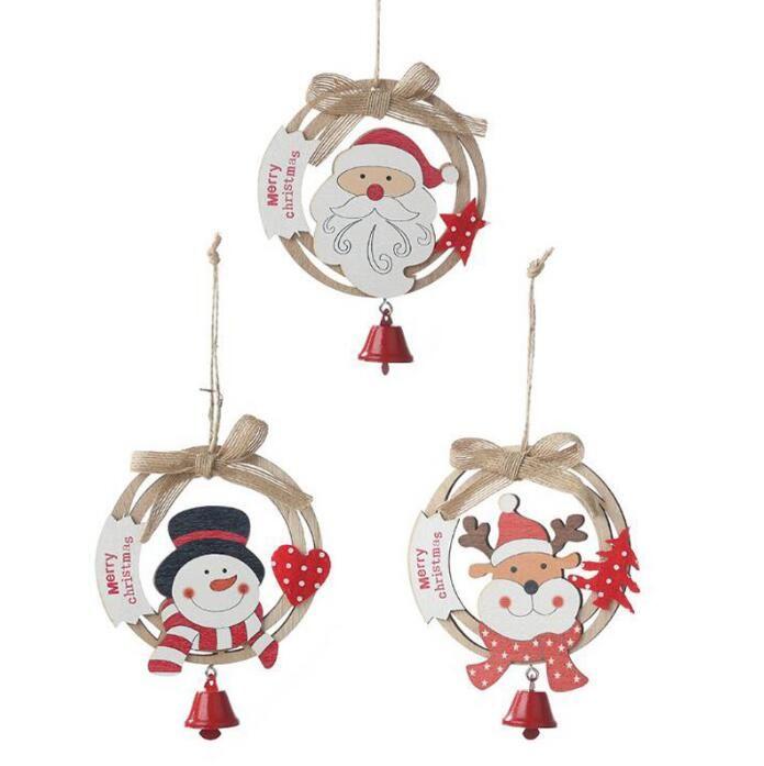 Weihnachtsverzierung Anhänger Weihnachtsbaum Anhänger Weihnachtsmann Santa Claus Bell Holz Anhänger Weihnachten Fenster Hang Ornament Weihnachten Dekorationen GWC4246