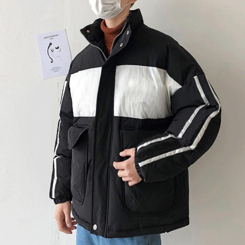 Algodão-acolchoado Casual Estilo Médio Com Capuz Roupas Contraste Cor Mens Designer algodão acolchoado roupas moda zipper casacos EE