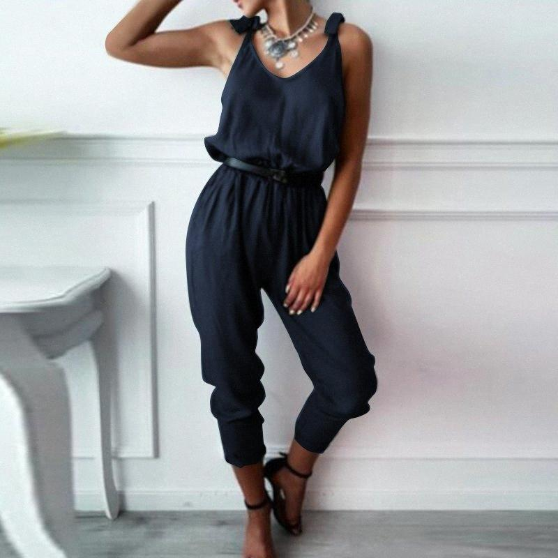 ZENZEA Women Rompers Sexy Summer V Neck Jumpsuits Casual Elegant Office Ladies Overalls Lace Up Solid Playsuits Plus Size Pants tzlo#