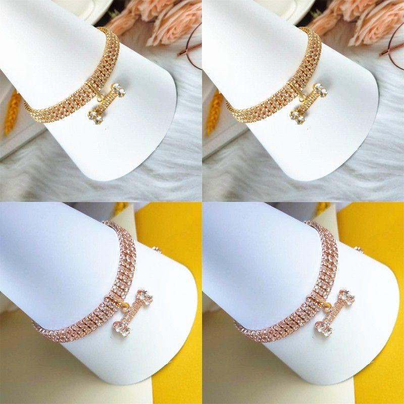 Pet Dog Necklace Bone Shape Pendants Three Rows Rhinestone Zircon Necklaces Rose Gold Color Chain Fashion Accessories 9 5cj N2