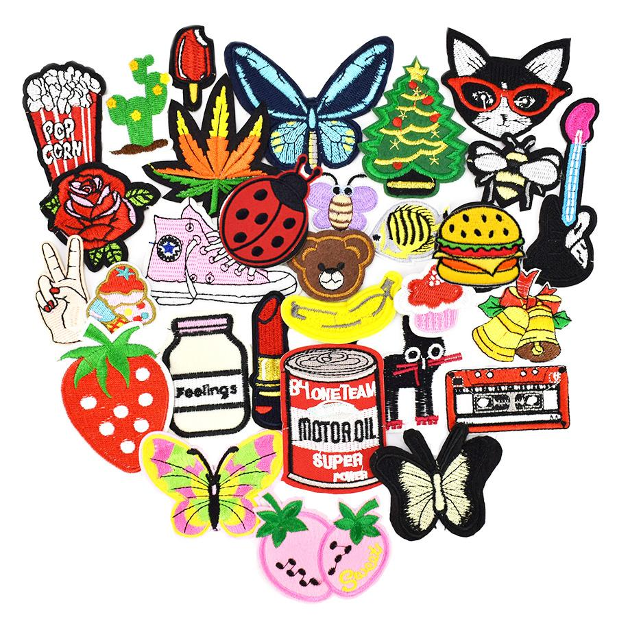 Diy patches for clothing iron embroidered patch applique iron on patches sewing accessories badge stickers for clothes bag 20pcs