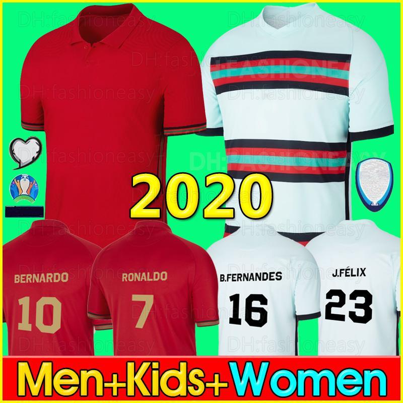 2020 البرتغال بالقميص رونالدو جيرسي لكرة القدم كأس أوروبا جواو فيليكس جيه فيليكس بيرناردو بي فيرنانديز بيب رجال أطفال قمصان كرة قدم أطقم 20 21 2020 Portugal jerseys