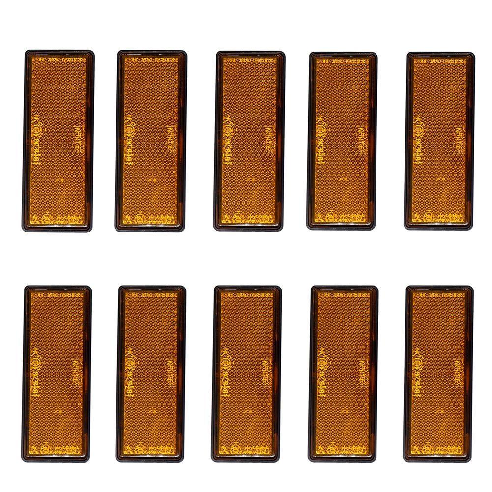 10 قطعة / المجموعة العنبر البرتقالي ملصق عاكسات تحذير علامة علامة عاكس الشريط لوحة IP67 لمقطورات شاحنة دراجة نارية