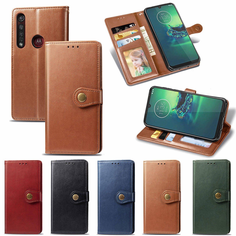 Wallet Telefon Przypadki do Moto G8-Plus Styl biznesowy z klamrą magnetyczną Pasek ręczny (model: G8Plus / G8 +)