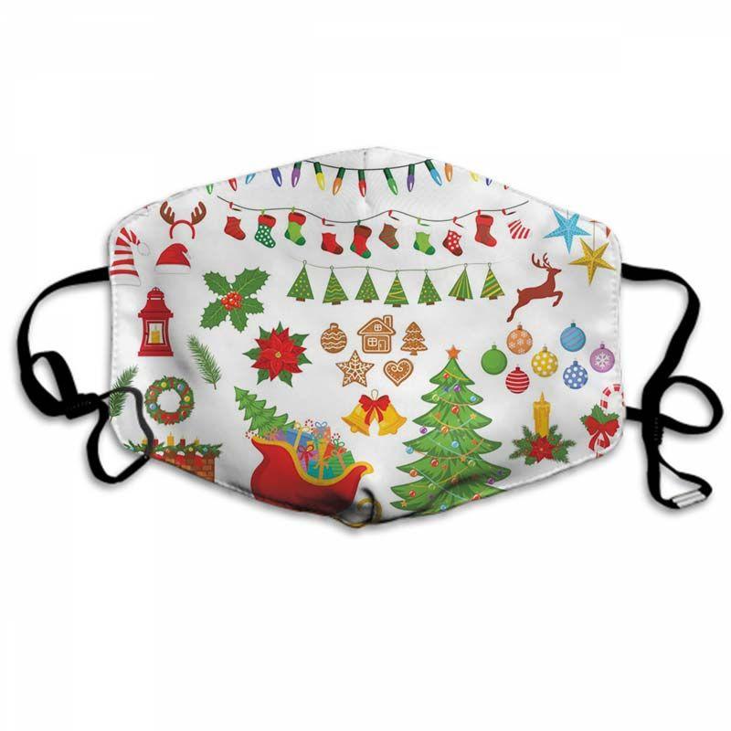 Weihnachten Maske Halloween Individuelle Gesichtsmaske geeignet für Erwachsene und Kinder Weihnachten 370