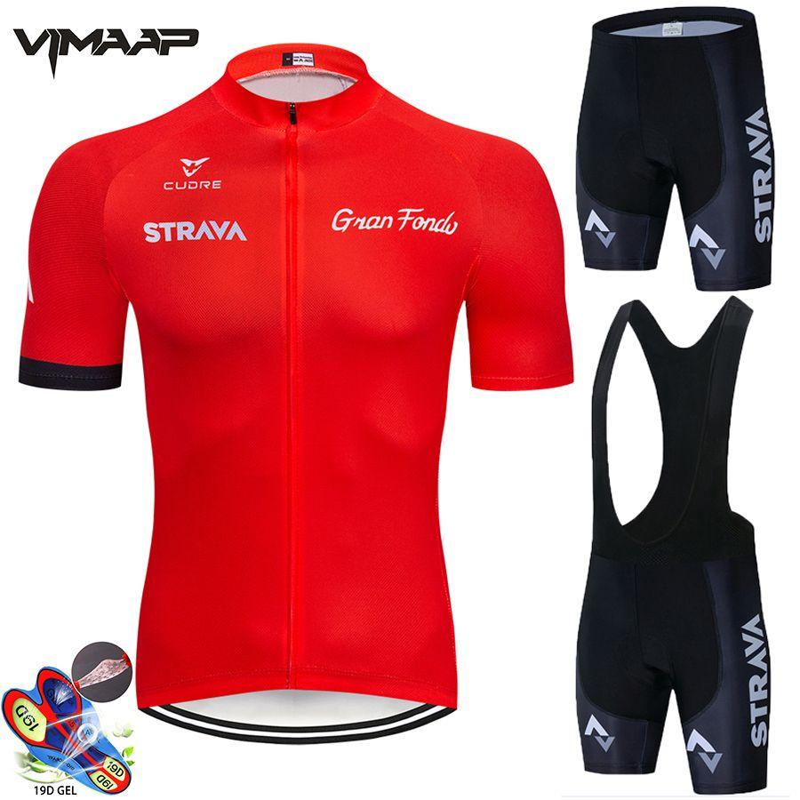 2021 Strava Cycling Jersey Ensemble Summer Mountain Vek Vêtements Pro Vélo Vélo Jersey Vélo SPORTSWART Suit Maillot Ropa Ciclismo C0123