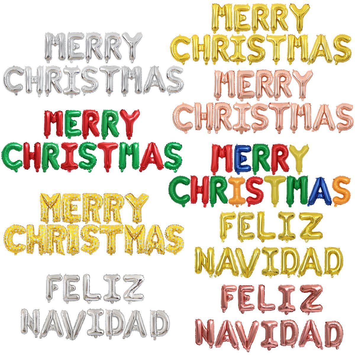16 İnç İspanyol Merry Christmas Balon mutlu noeller Harf Alüminyum Film Balon Tatil Dekorasyon Topu