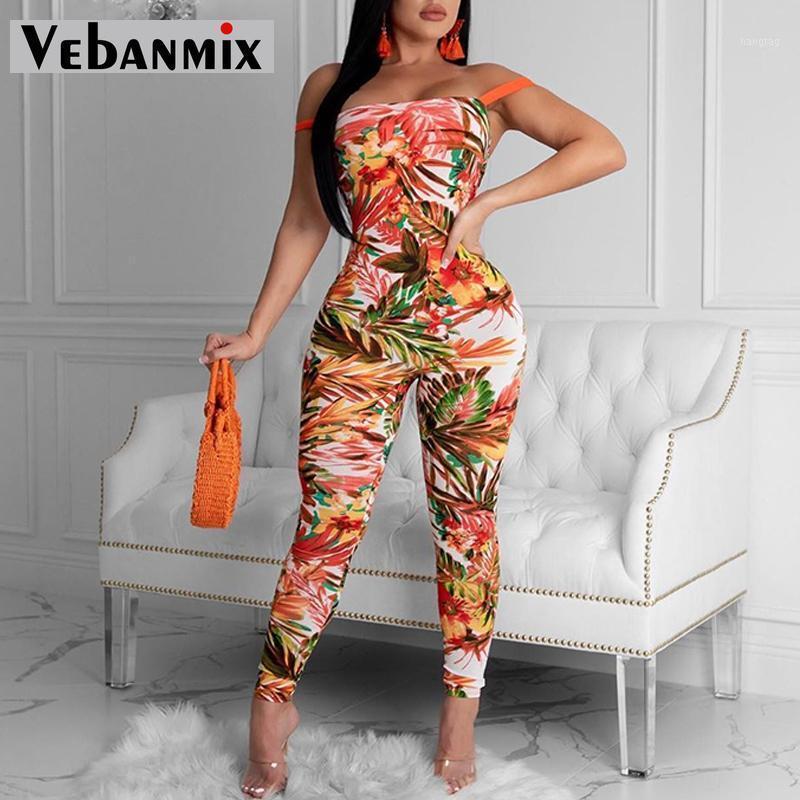 Monos de mujer Mamélicos Mamélicos Sexy Mujeres Tallas grandes Estampado Floral Vendaje Bodycon Jumpsuit Backless Club Flaca Femenina Mono1