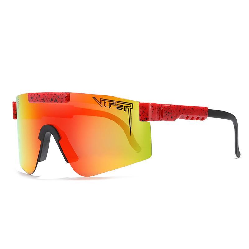 Pit Viper PV01-c9 Einstellbare Übergroße Windsicher polarisierten Sonnenbrillen für Männer / Frauen TR90 Rahmen rot gespiegelt Linse