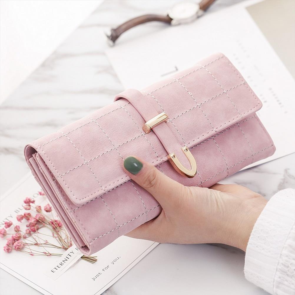 Pembe Deri Uzun Cüzdan Çanta Para Pocket Kart Sahibi Kadınlar Telefon Cüzdan ve Çantalar Para Çantaları Yüksek Kalite Uzun Cüzdan