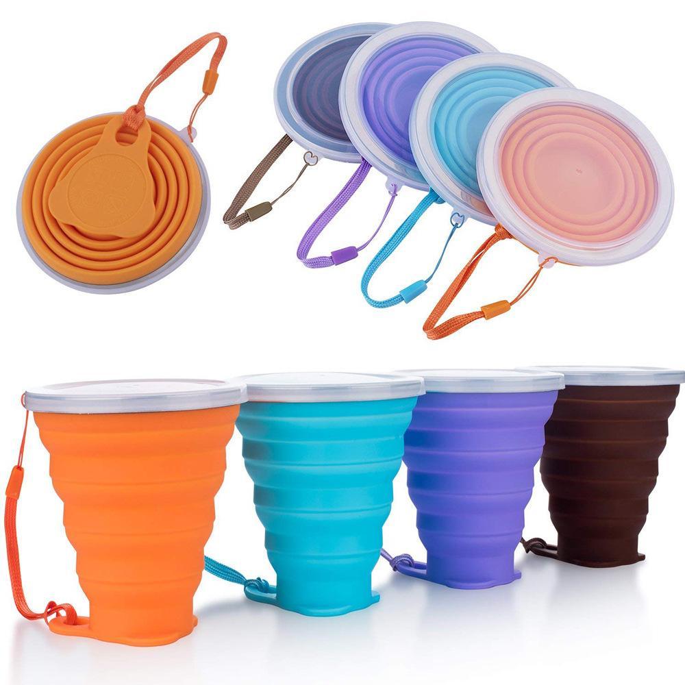 Copas plegables 270ml BPA Free Food Grade Water Cup Travel Silicone retráctil Coloreado Café al aire libre Handcup Q1218