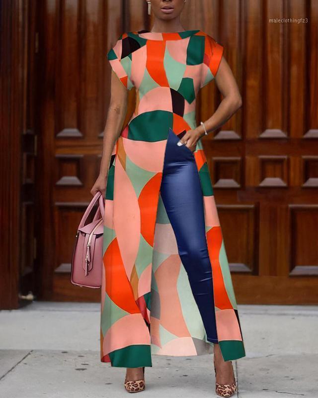 2020 Summer Women élégant Vintage Boho Long Shirt Femme Asymétrical Casual Top Colorblock Geo Imprimer Blouse irrégulier1