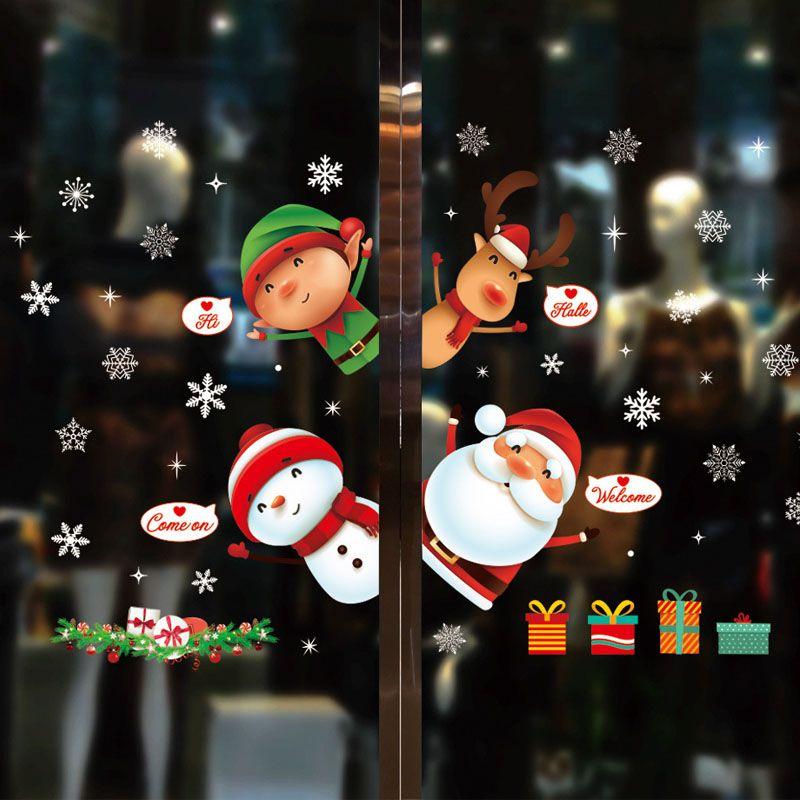 Окно Наклейки Новогодние украшения для Home 2020 Navidad Natal С Рождеством украшения Рождественские подарки С Новым годом 2021