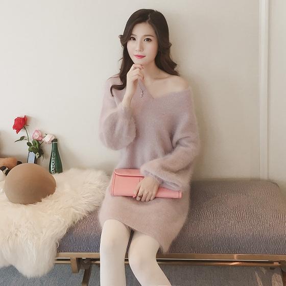481mN Neue V-Ausschnitt Nerz wie Kaninchenhaar koreanischen im Herbst Pullover Laterne Hülsen mittlerer Länge und Pullover Pullover lose Pullover und Winter 2