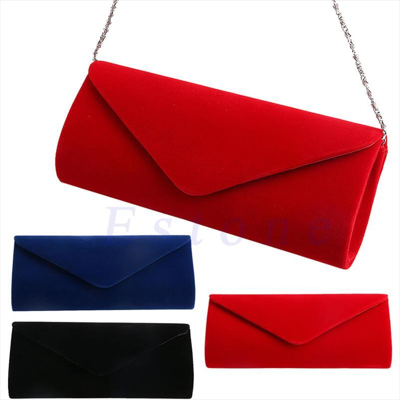 Evening Bags New 1Pc Ladies Velvet Evening Clutch Handbag Bag Formal Shoulder Tote Purse