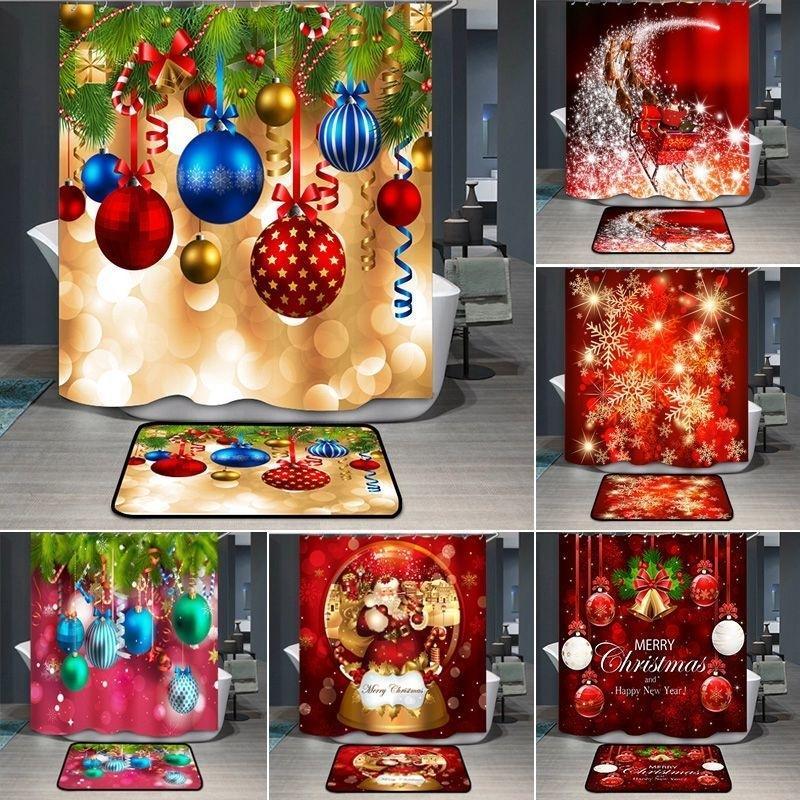Рождественские душевые занавески Снежинка Санта-Клаус Красный Душевая занавеска с крючками С Новым годом Рождественские Украшения Ванной комнаты 201127