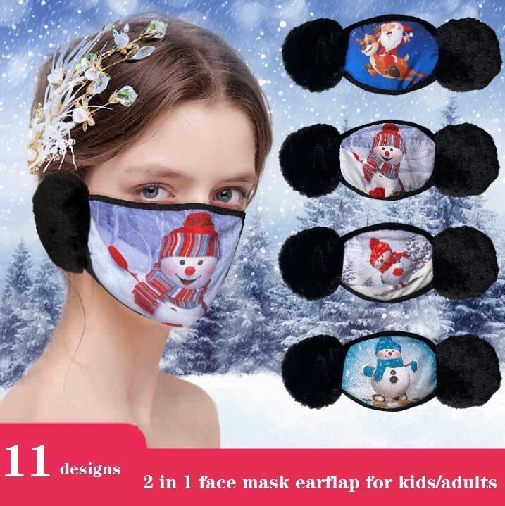 Weihnachtsdesign Cartoon Gesichtsmaske Abdeckung 2 in 1 Ohrenschützer Winddicht schützend dicke warme Mundmasken Winter Mundmuffel Earflap