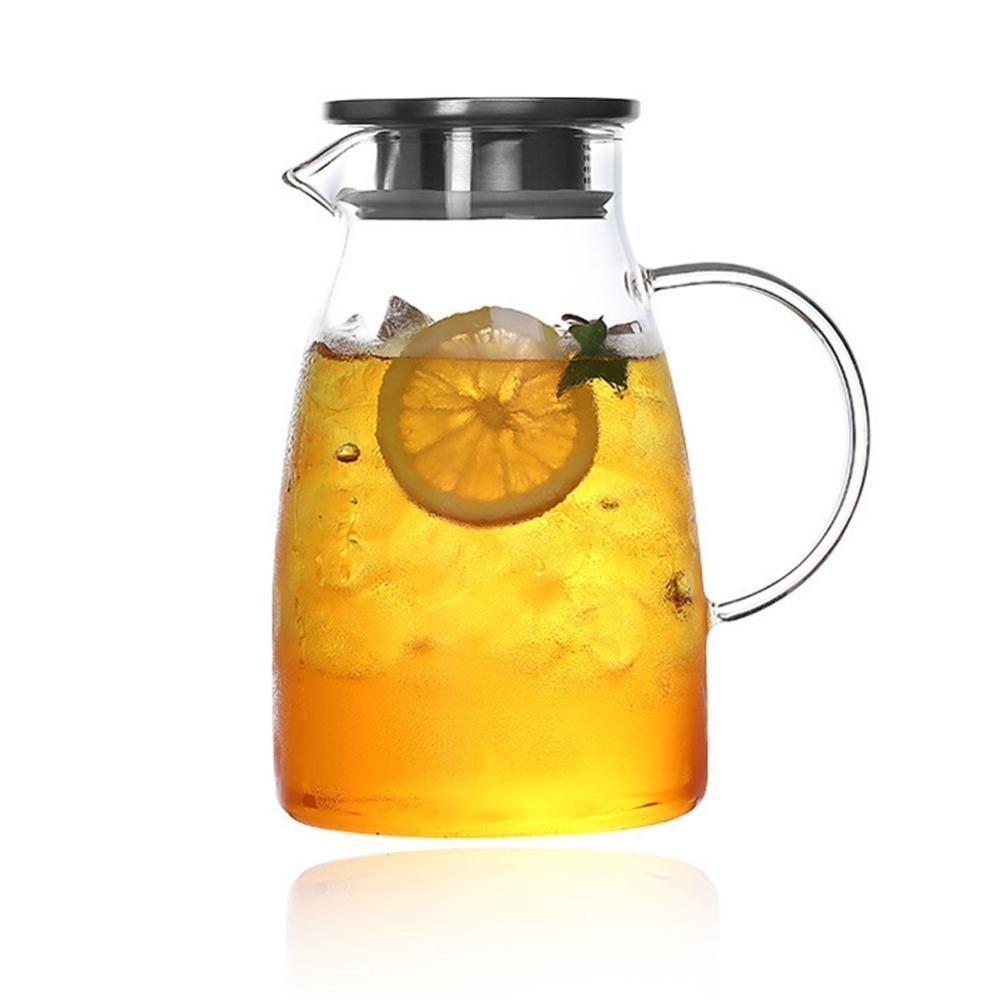 Garrafa de vidro claro de alta capacidade com ladeira de aço inoxidável da tampa da água para bebidas de água 1500ml ou 2000 sh68 201126