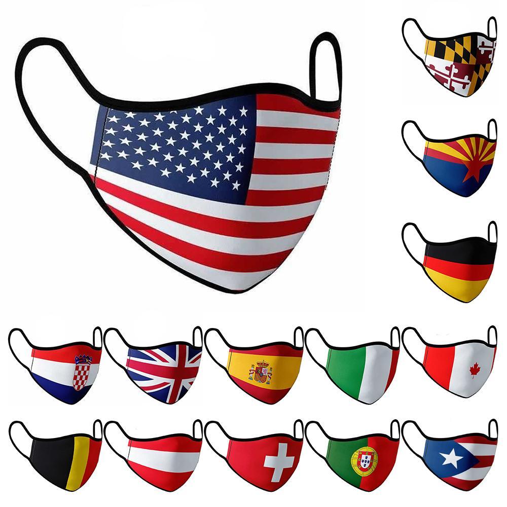 American National Flag Masken 15 Arten von Nationalflagge Masken Staubdichtes Printed Cotton Gesichtsmasken kann wieder verwendet werden w-00353